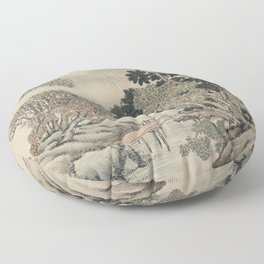 Vintage Japanese Landscape Painting Floor Pillow