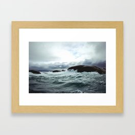 Waves at Granite Island Framed Art Print