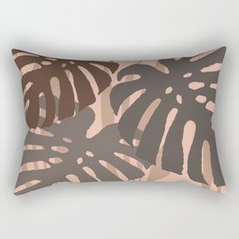 Three big Monstera leaves brown background Rectangular Pillow