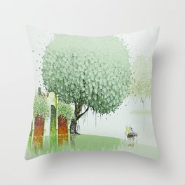 By The River-Green Throw Pillow