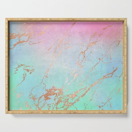 Rainbow Glamour Marble Texture Serving Tray