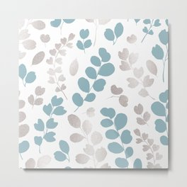 Elegant silver glitter modern blue foliage Metal Print