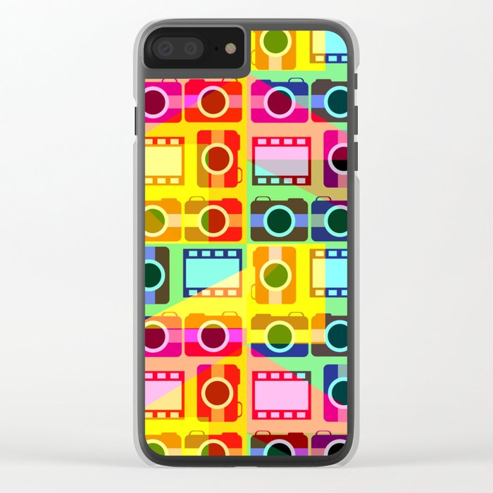 Colorful camera pattern Clear iPhone Case