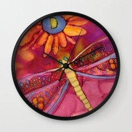 Daisy Dragonfly Wall Clock