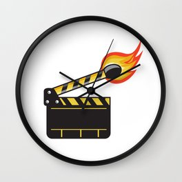 Clapper Board Match Stick On Fire Retro Wall Clock