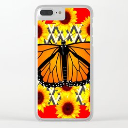 RED COLOR SUNFLOWERS & MONARCH BUTTERFLY GRAPHIC Clear iPhone Case