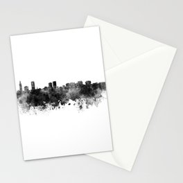 Baton Rouge skyline in black watercolor Stationery Cards