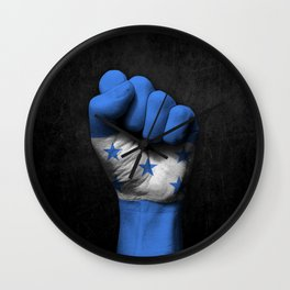 Honduran Flag on a Raised Clenched Fist Wall Clock