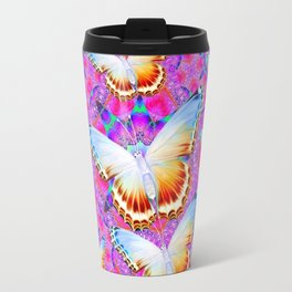 EXOTIC ORIENTAL BUTTERFLIES PINK-YELLOW ART Travel Mug