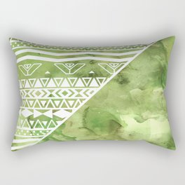 Modern green watercolor color block geometric aztec  greenery color of the year pattern Rectangular Pillow