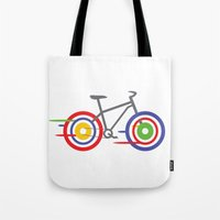 bike Tote Bags featuring Bike! by Alice Wieckowska
