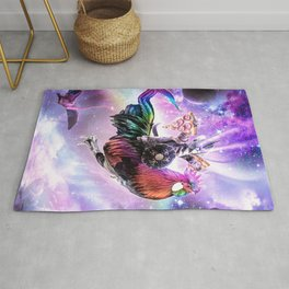 Laser Warrior Space Cat On Chicken Eating Pizza Rug