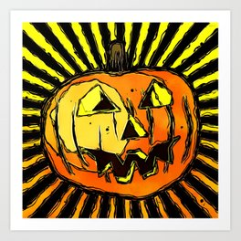 Scary Halloween Pumpkin Art Print