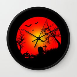 Nightmare Pumpkin Halloween Wall Clock