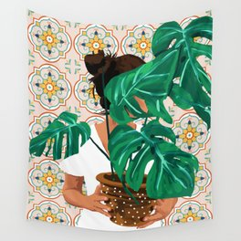 Monstera plant lady Wall Tapestry