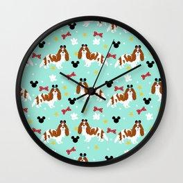 cavalier king charles blenheim coat theme park lover dog breed Wall Clock