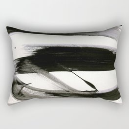 Brushstroke 9: a bold, minimal, black and white abstract piece Rectangular Pillow