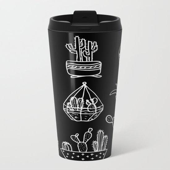 Minimalist Cacti Collection White on Black Metal Travel Mug