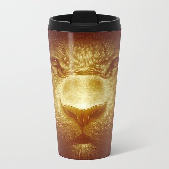 Gold Tiger Metal Travel Mug