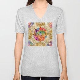 Bohemian 1960's Mandala Pattern of Peace Unisex V-Neck