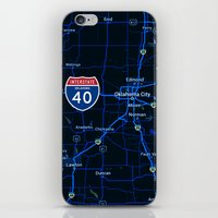 oklahoma iPhone & iPod Skins featuring oklahoma map by Larsson Stevensem