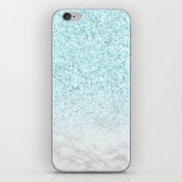 Turquoise Glitter and Marble iPhone Skin