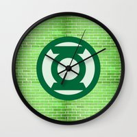 green lantern Wall Clocks featuring Green Lantern by DeBUM
