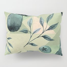 Mushrooms & blueberries pattern muted green tones Pillow Sham