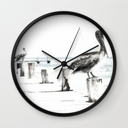 Pelican | Pelícano | The the long wait hunting Wall Clock