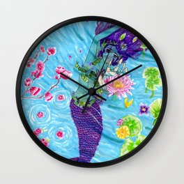 Floral Mermaid Wall Clock