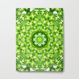 GREEN LEAVES MANDALA Metal Print