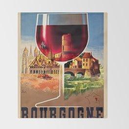 1930 French Bourgogne Wine Societe Nationale Advertisement Poster Throw Blanket