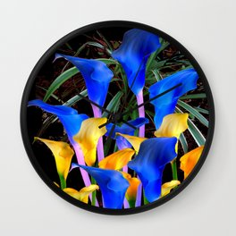 BLACK MODERN ABSTRACT BLUE & GOLD CALLA LILIES Wall Clock