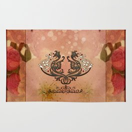Decorative dragon with floral elements Rug