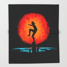Minimalist Karate Kid Tribute Painting Throw Blanket