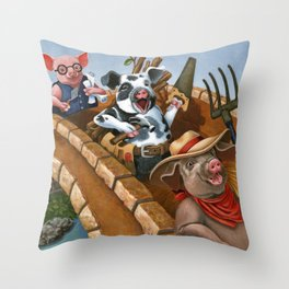 The Three Pigs Throw Pillow