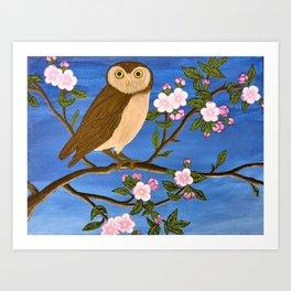 Night Owl on Blossoming Tree Art Print