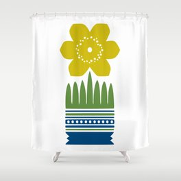 Nordic Yellow Flower Shower Curtain
