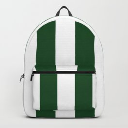 Jumbo Forest Green and White Rustic Vertical Cabana Stripes Backpack