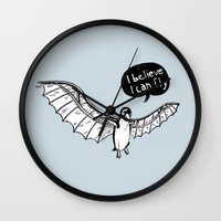 da vinci Wall Clocks featuring Da Vinci Penguin by Nemimakeit