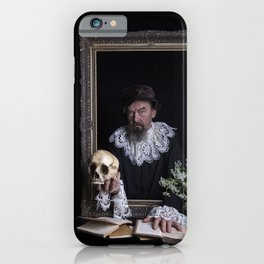 Old man with skull iPhone Case