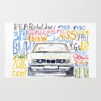 bmw Area & Throw Rugs featuring BMW e36 by dareba