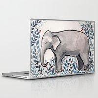 baby elephant Laptop & iPad Skins featuring Baby Elephant by Nikolazza