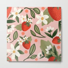 Strawberry Patch - Pink Metal Print
