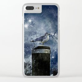 One Legged Seagull in a Snowstorm with Stars in His Eyes Clear iPhone Case