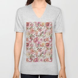 Pastel coral pink watercolor hand painted roses floral Unisex V-Neck