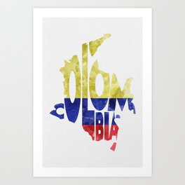 Colombia Typographic World Map / Colombia Typography Flag Map Art Art Print