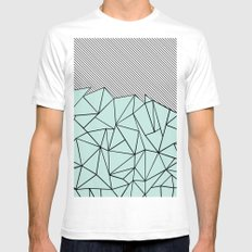 Ab Lines 45 Mint SMALL Mens Fitted Tee White