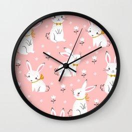 Seamless pattern of cute white rabbits Wall Clock