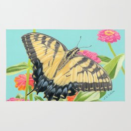 Swallowtail Butterfly And Zinnias Rug